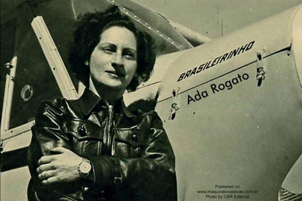 A aviadora Ada Rogato e seu Cessna