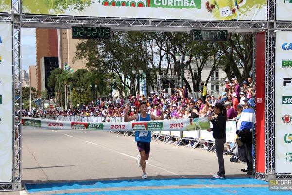 A chegada na Maratona de Curitiba  Arquivo pessoal.
