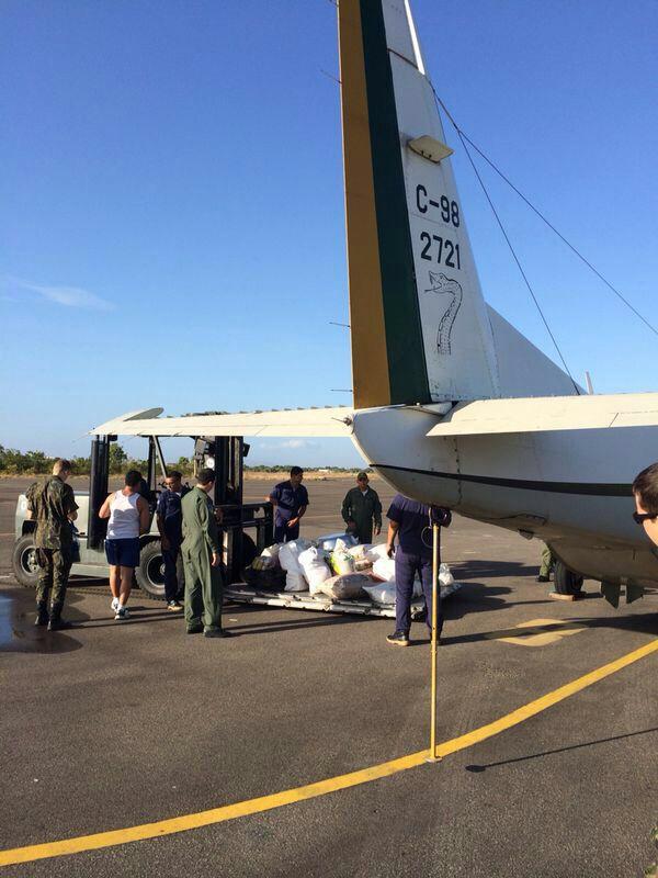 Ao todo foram duas toneladas transportadas para área isolada, sem acesso por rodoviais ou vias fluviais
