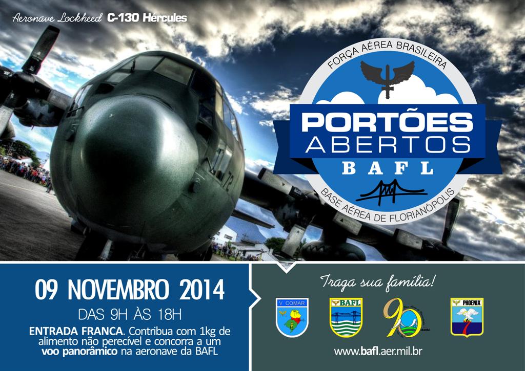 Evento será realizado em 09 de novembro com exposição e sobrevoos de aeronaves militares