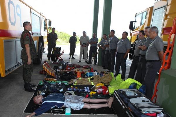 Militares da Base Aérea Naval de São Pedro da Aldeia acompanharam o trabalho de militares da companhia contraincêndio