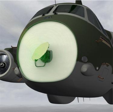 Concepção artística do KC-390 com radar  Selex ES