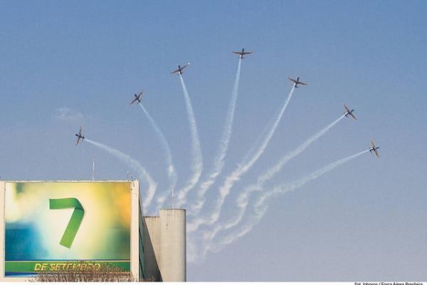 Depois de dois anos, a Esquadrilha da Fumaça voltou a se apresentar no desfile da Independência em Brasília