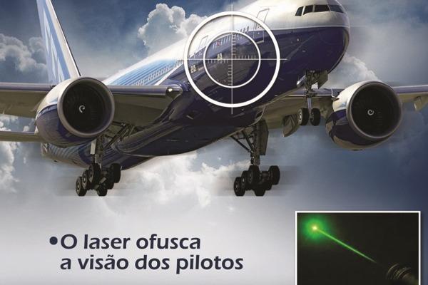 A distração, ofuscamento da visão e cegueira momentânea do piloto pelo laser colocam vidas em risco