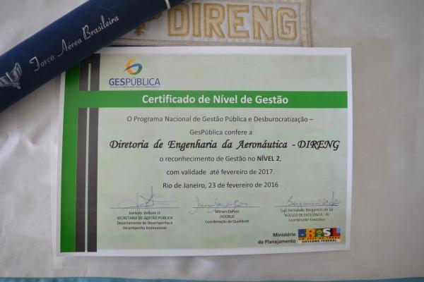 Certificado de Nível de Gestão da DIRENG  3S Maryana Corrêa
