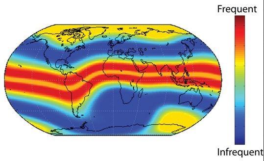 Interferência da ionosfera é mais intensa em baixas latitudes