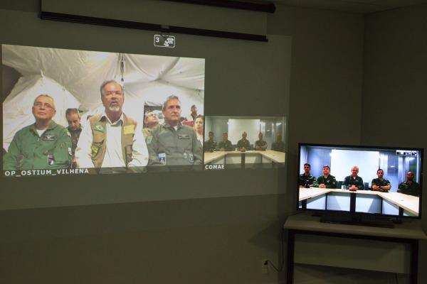 Ação marcou o primeiro enlace da Operação Ostium por meio do SGDC e foi acompanhada por autoridades em Brasília (DF) e Vilhena (RO)