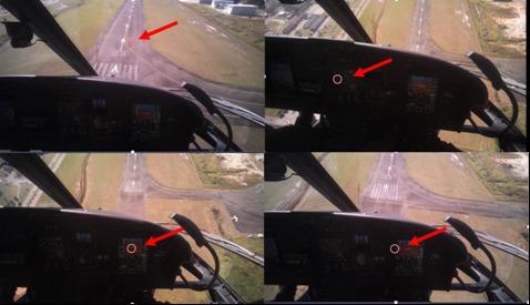 Eye Traking - círulo vermelho indica a posição em que o piloto está olhando