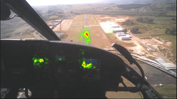 Área vermelha indica a posição de maior incidência do olho do piloto