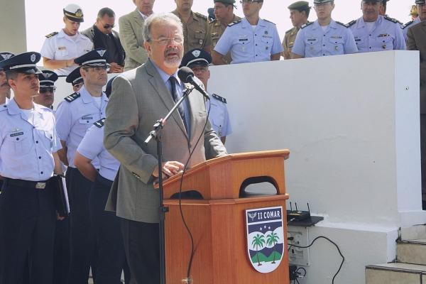 Ministro da Defesa, Raul Jungmann, discursa durante a solenidade