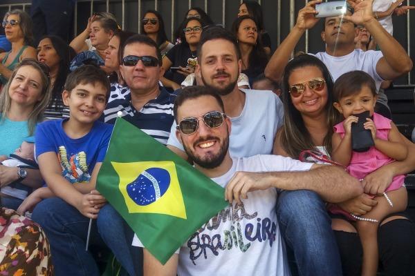 Espectador Davi Moura Santos, com a família
