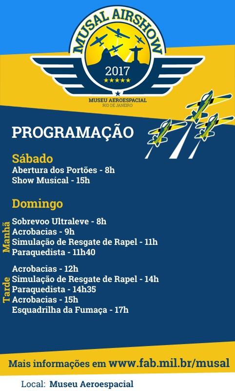 Programação do MUSAL Airshow, que ocorre nos dias 21 e 22