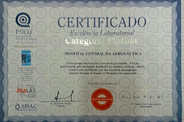 O certificado foi dado pelo Programa Nacional de Controle de Qualidade