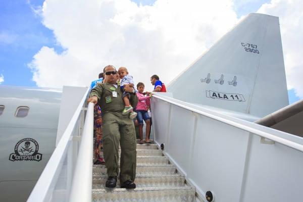 Em dois voos, a FAB transportou em torno de 250 venezuelanos para os Estados de São Paulo e do Mato Grosso