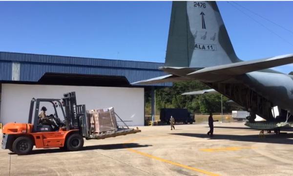 A aeronave C-130 Hércules do 1°/1° GT realizou Apoio Aéreo Logístico de Guarulhos (SP) para Macapá (AP)