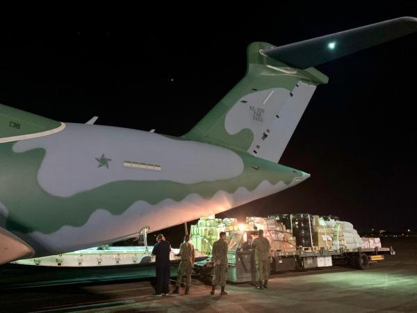 As aeronaves KC-390 Millennium, C-130 Hércules e C-97 Brasília cumpriram as missões entre o domingo (05) e esta quarta-feira (08)
