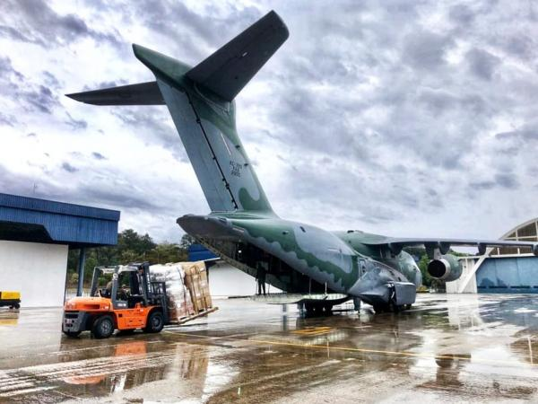 Aeronave decolou no domingo (16) de Guarulhos (SP) transportando insumos de saúde para combate ao novo Coronavírus