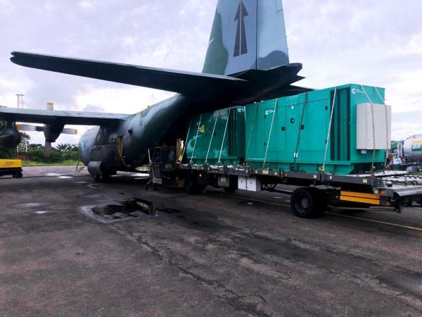 A aeronave C-130 Hércules cumpriu missões na Operação Amapá, neste domingo (08)
