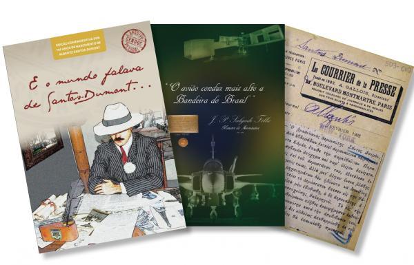 Obra é composta por notícias de jornais nacionais e internacionais sobre o Pai da Aviação